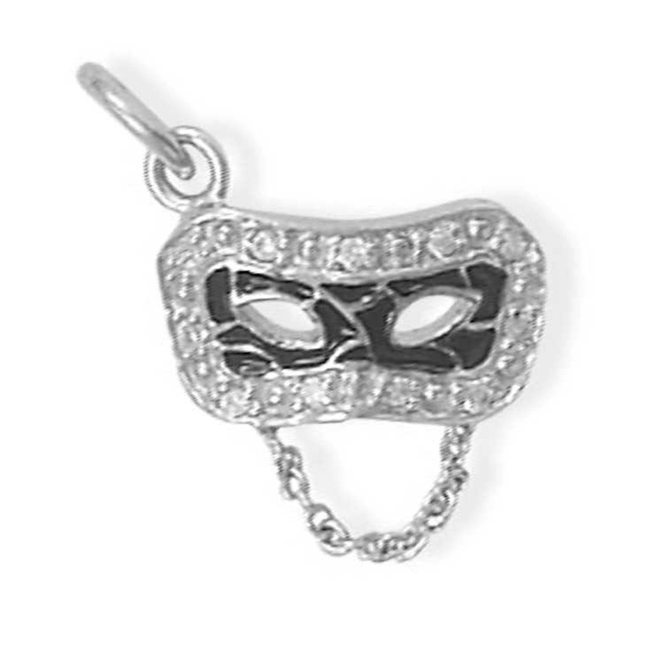 Sterling Silver Charm Bracelet With 3D Black Enameled Cubic Zirconia Mardi Gras Masquerade Mask Char