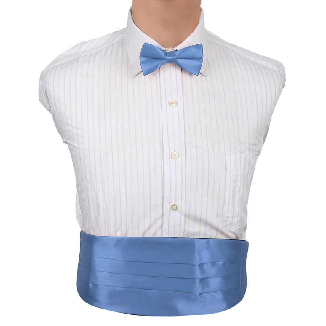 DIC1E01H Silver Plain Soft Stain Bridegrooms Cummerbund Bow Tie Set Cummerbund Matching Bow Tie By Dan Smith