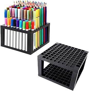 MyLifeUNIT - Portalápices, soporte de escritorio con 96 agujeros para lápices y bolígrafos, 2 unidades: Amazon.es: Juguetes y juegos