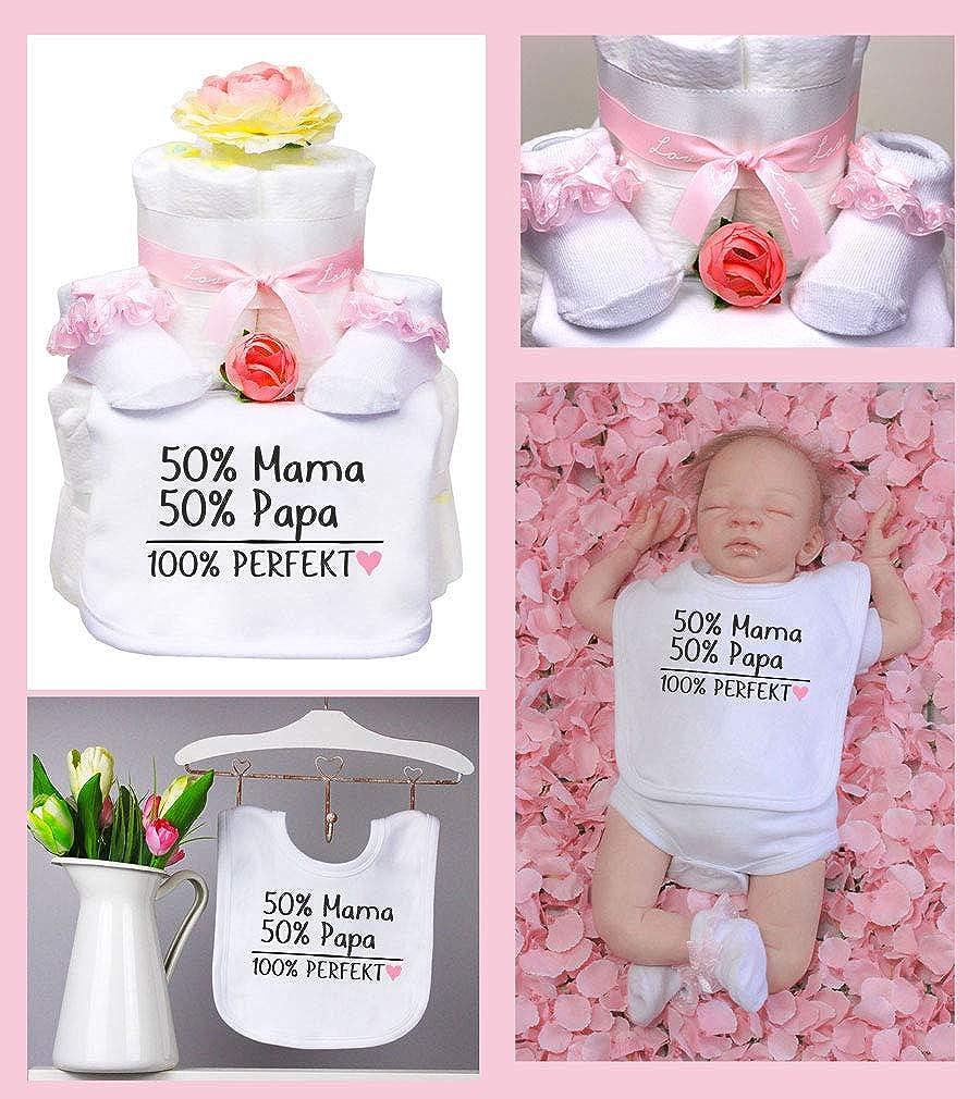 Trend Mama Windeltorte M/ädchen wei/ß//rot L/ätzchen Socken Muffin 50/% Mama 50/% Papa 100/% Perfekt