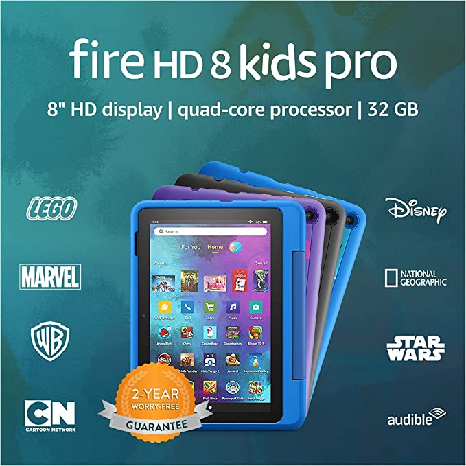 """Introducing Fire HD 8 Kids Pro tablet, 8"""" HD, ages 6–12, 32 GB, Intergalactic 