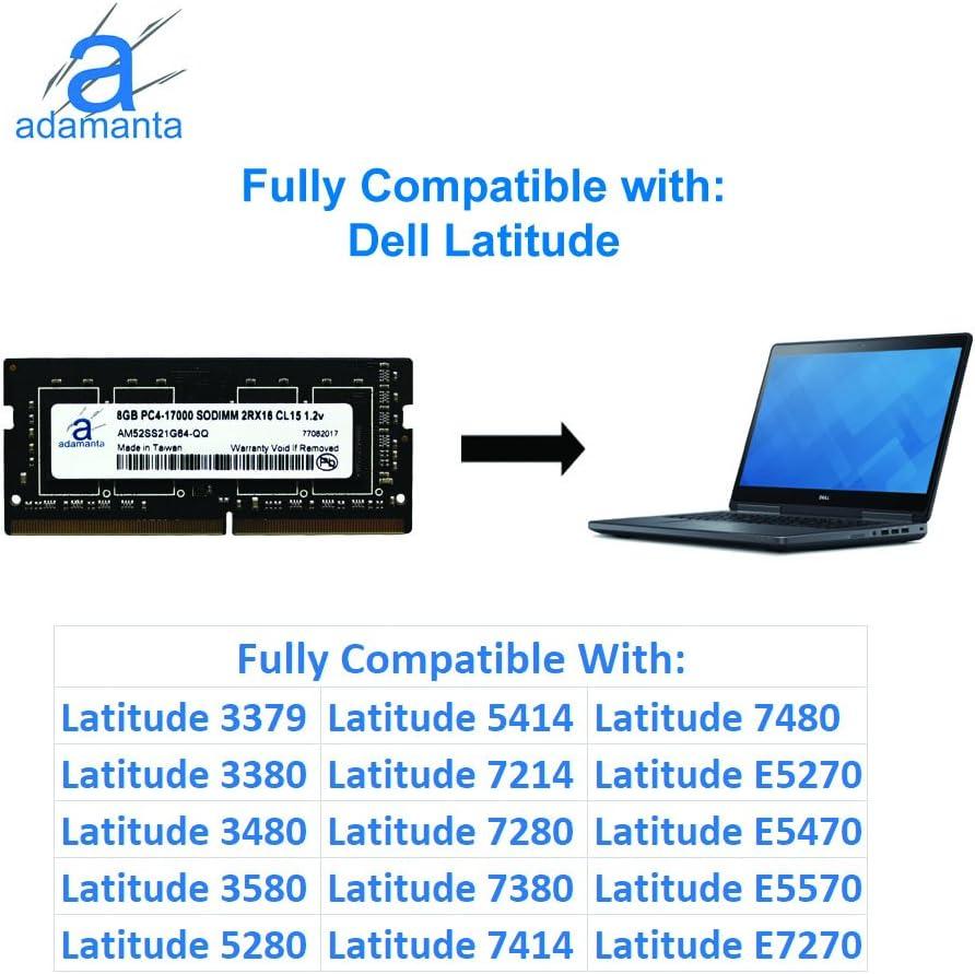 1x8GB Laptop Memory Upgrade for Dell Latitude E7470 DDR4 2133Mhz PC4-17000 SODIMM 1Rx8 CL15 1.2v Notebook DRAM Adamanta 8GB