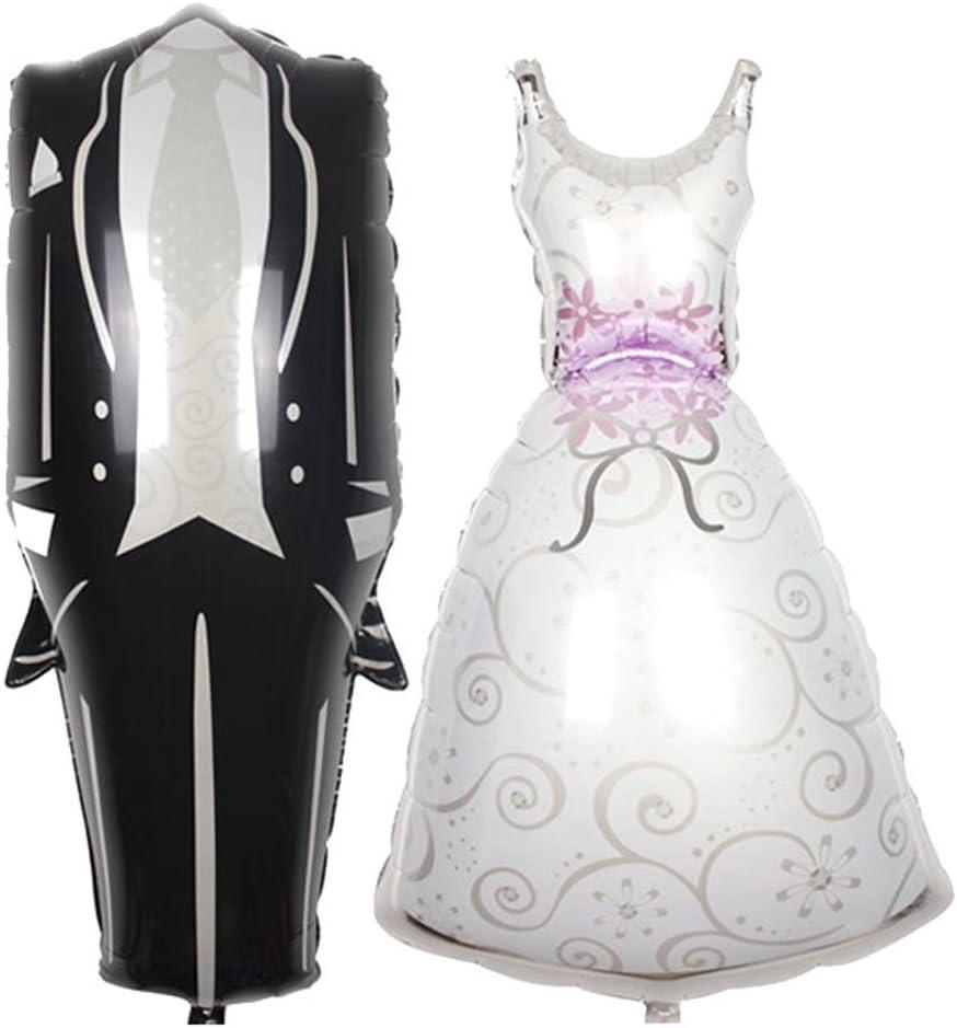 Romantic Wedding Decor Hot Foil Balloon Bridal Dresses Aluminum Bride and Groom