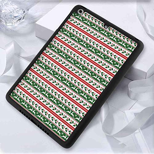 (Hard Back Case Compatible with iPad Mini 2 (2013) 7.9inch Christmas Jumping Reindeers Border with Xmas Mistletoe Poinsettia Flower Burgundy White and Dark Green)
