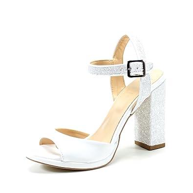 0844d32693f5f Sandales Femme Blanche élégant Talon Confortable DE 10 cm. Chaussures Femme  Escarpin cérémonie événement Party