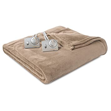 Amazon.com: Biddeford - Micro Plush Heated Electric Blanket, Tan ...