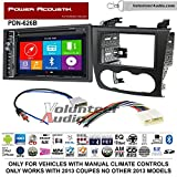 Volunteer Audio Power Acoustic PDN-626B Double Din Radio Install Kit with GPS Navigation Bluetooth CD/DVD Player Fits 2007-2013 Nissan Altima (Manual Climate Controls)