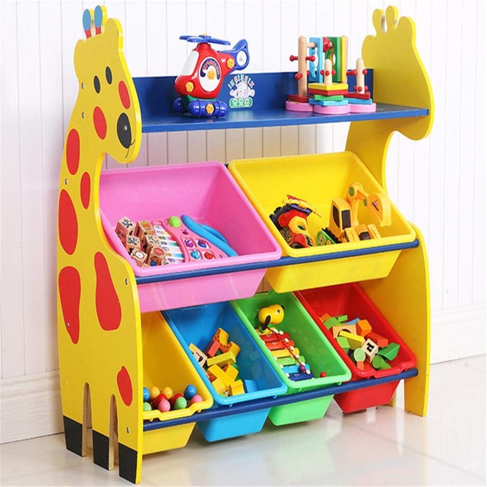 多機能子供用おもちゃ収納ボックス プラスチック製のビン、収納ボックスの棚引き出し付きの耐久性のある子供用おもちゃ収納オーガナイザー-家庭用収納、布地、おもちゃに最適 おもちゃ衣服用品を収納 (Color : Yellow, Size : Free size)