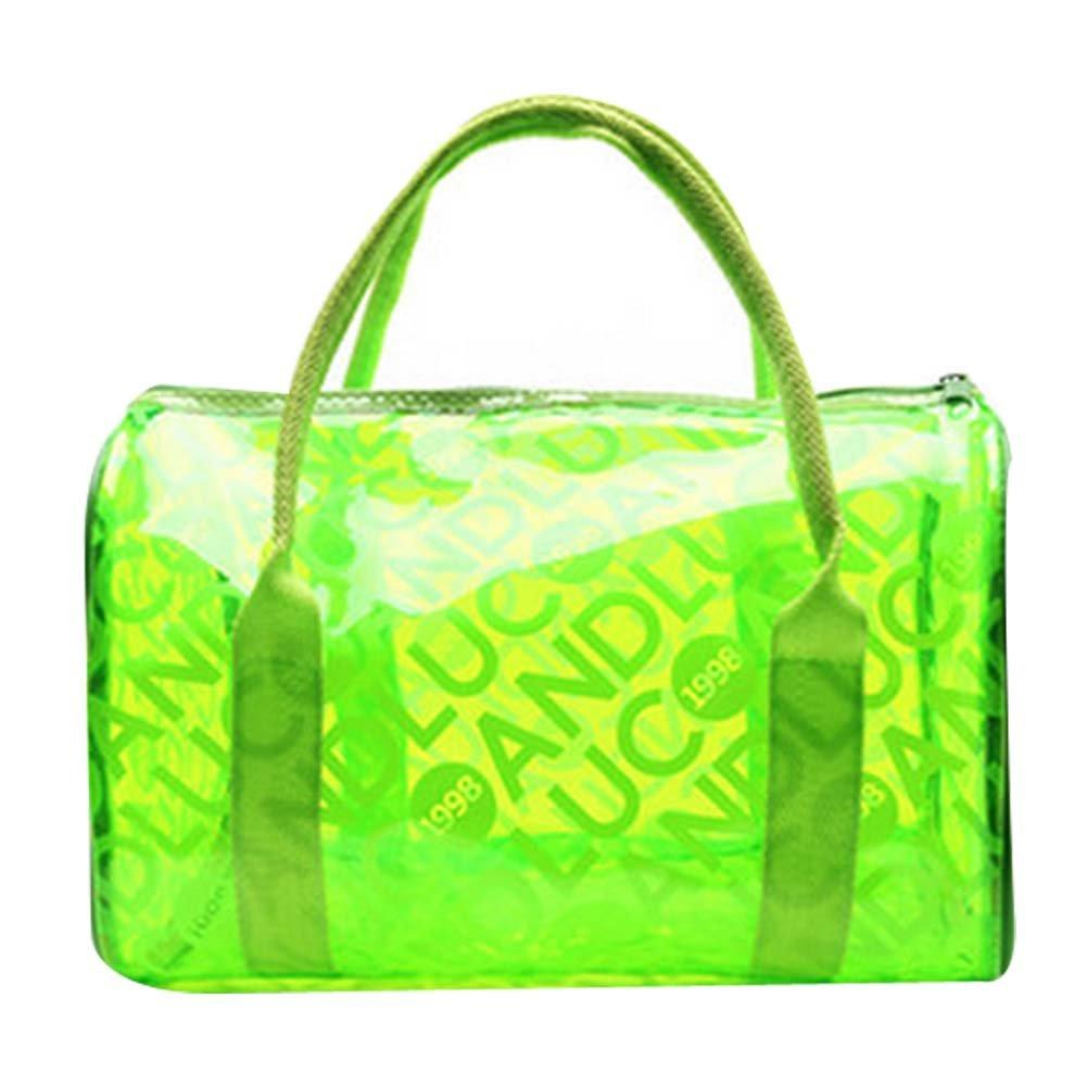 PANDA SUPERSTORE Transparent Colorful Waterproof Beach Tote//Storage Bag Green,Free