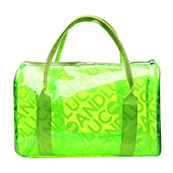 47fbb187f6c5 Transparent Colorful Waterproof Beach Tote Storage Bag(Green
