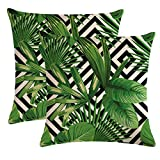 ULOVE LOVE YOURSELF 2Pack Tropical Green Leaves Throw Pillow Cover with Geometric Background Home Decorative Square Cushion Covers Cotton Linen Home Decor Palm Pillowcase 18 X 18 Inch(Palm Tree)
