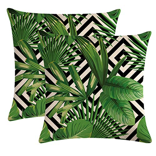 - ULOVE LOVE YOURSELF 2Pack Tropical Green Leaves Throw Pillow Cover with Geometric Background Home Decorative Square Cushion Covers Cotton Linen Home Decor Palm Pillowcase 18 X 18 Inch(Palm Tree)