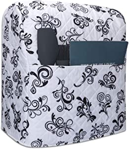 Stand Mixer Dust Cover, Cotton Quilted Kitchen Aid Mixer Cover for Kitchen Aid Mixer,Fit All Tilt Head Bowl Lift Models 6-8 Quart Kitchen Aid Mixers CYFC365(White Spindrift)