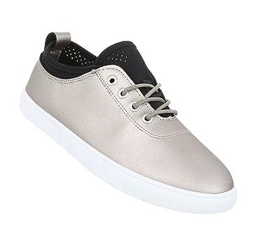 Schuhcity24 Damen Sneakers   Sneaker Flach   Sportliche Glitzer ... 853923ab0c