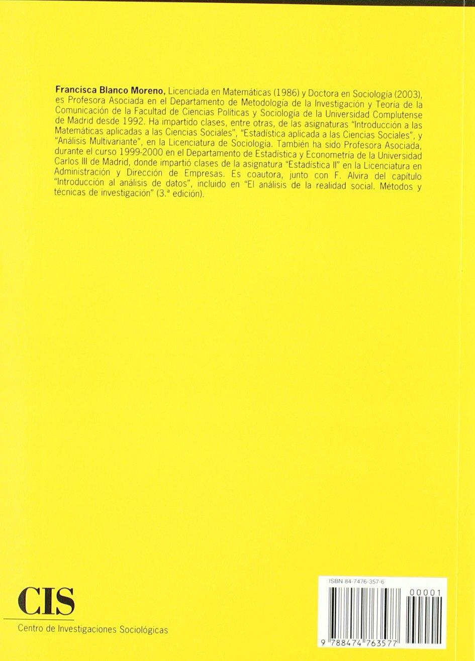 Introducción a las matemáticas para las Ciencias Sociales (Spanish Edition): Francisca Blanco Moreno: 9788474763577: Amazon.com: Books