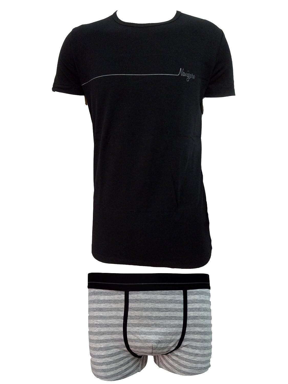 coordinato uomo boxer + t-shirt girocollo cotone elasticizzato NAVIGARE art. 11582
