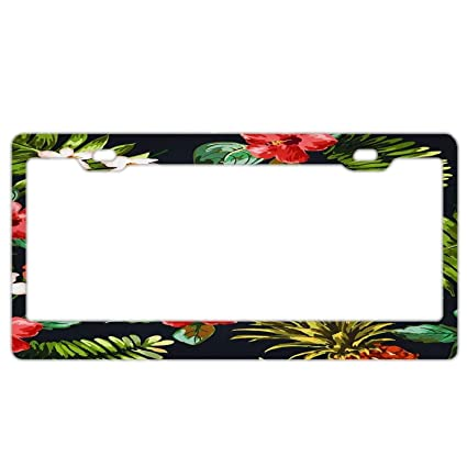 PALM TREE HIBISCUS FLOWERS Metal License Plate Frame Tag Holder