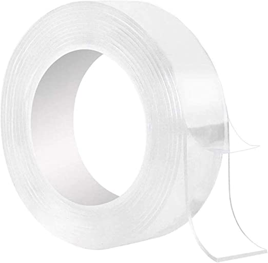 Clear Double Sided Tape Heavy Duty Removable Nano Strong Grip 1.2in x 16.5ft Multifunctional Traceless Reusable Washable Transparent Anti Slip Adhesive Tapes for Kitchen Household Mounting Tape