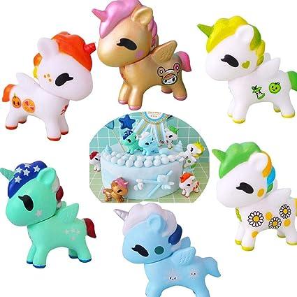 Amazon.com: 6 figuras de decoración para tartas de unicornio ...