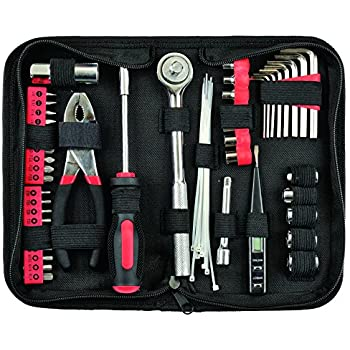 yuanshikj precision 56 piece tools general auto tool set kit zippered case red color. Black Bedroom Furniture Sets. Home Design Ideas