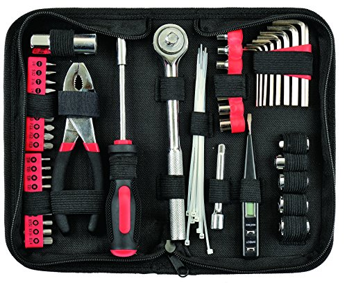 Yuanshikj Precision 56 Piece Tools General Auto Tool Set Kit Zippered Case , Red Color (Emergency Auto Kit Tool)