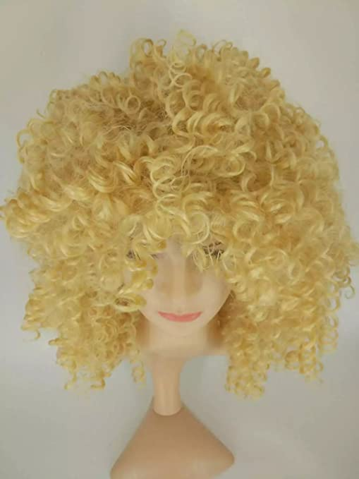 Amazon.com : Hot Short Wigs For Black Women Kinky Curly Synthetic Wigs Natural Cheap Hair Wig With Bangs Pelucas Baratas (Gold) : Beauty