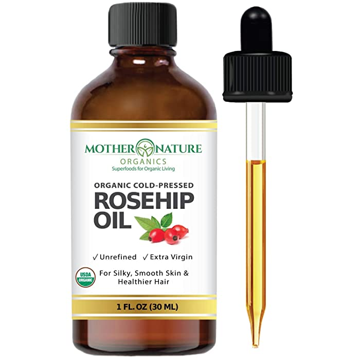 Organic Rosehip Seed Oil 100% Pure Cold Pressed, USDA Certified Organic. Reduce Acne Scars. All Natural Anti-Aging Moisturizer Treatment for Face, Hair, Skin & Nails, Men & Women (1 Ounce)