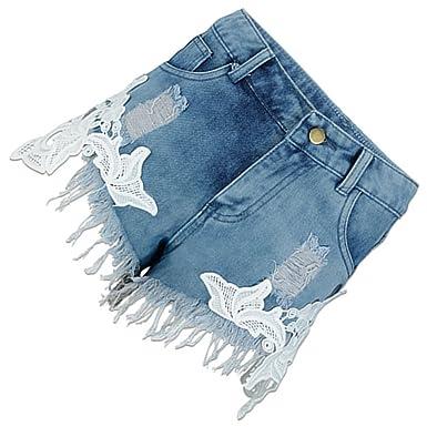 Frauen Spitze Häkeln Tassel Hohe Taille Denim Shorts Lochjeans Jeans Hot Pants