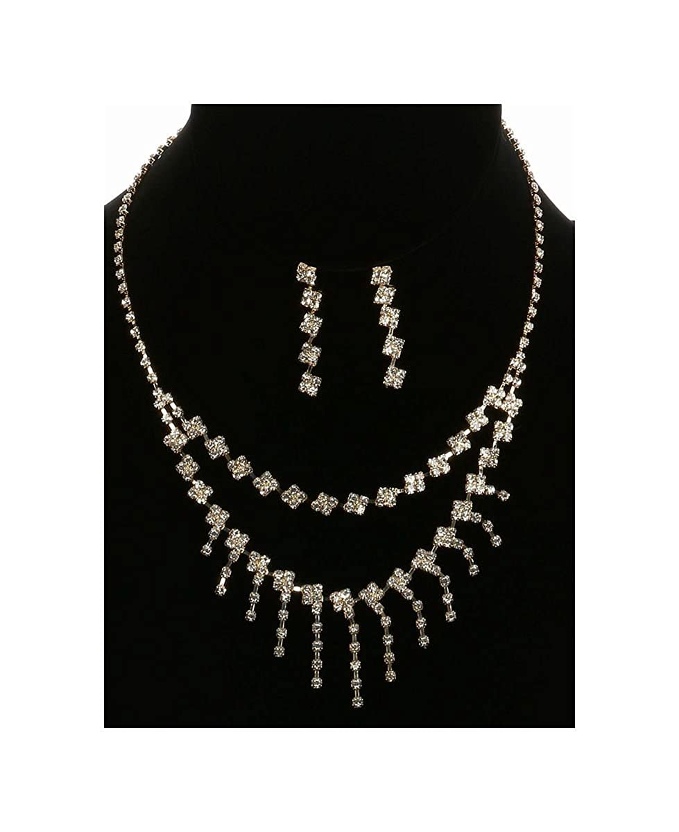 FB Jewels Solid Layered Necklace And Earring Set Rhinestone Bib With Wedding