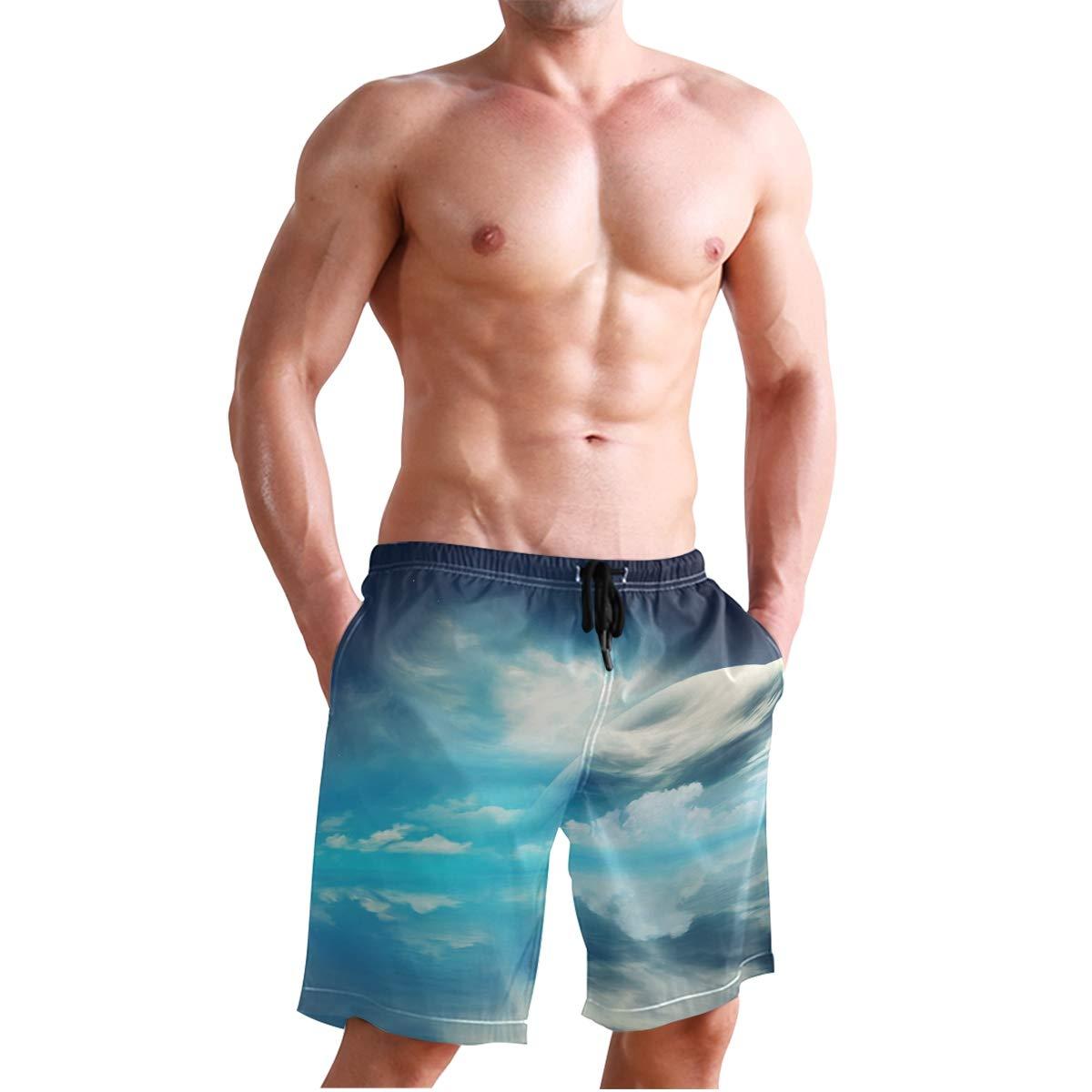 Men/'s Swim Trunks Beach Board Swimwear Shorts Earth Ocean Swimming Short Pants Quick Dry Water Shorts Mesh Lining