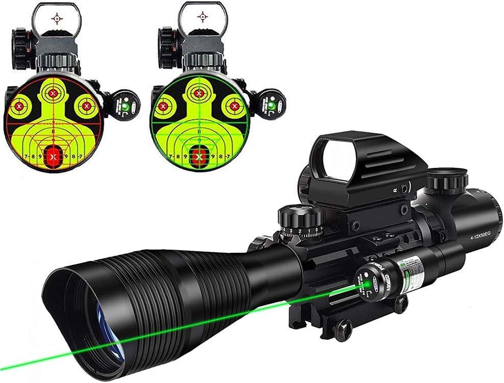 6-24x50 Rifle Scope Hunting Mil-dot Illuminated /& Red Laser Sight Combo