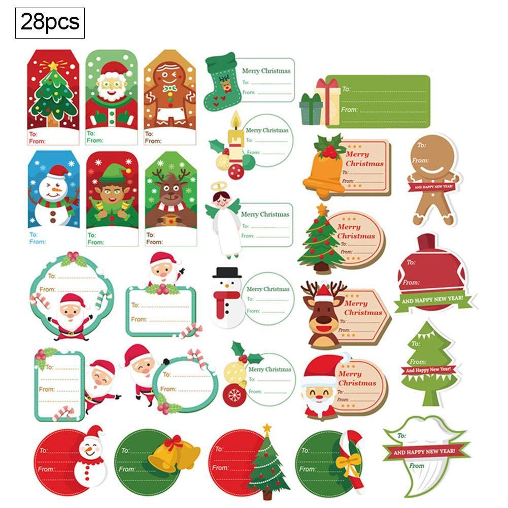 28 ST/ÜCKE Weihnachten Selbstklebende Geschenkanh/änger Aufkleber Weihnachtsbotschaft Aufkleber Geschenkbox Aufkleber Party Dekoration
