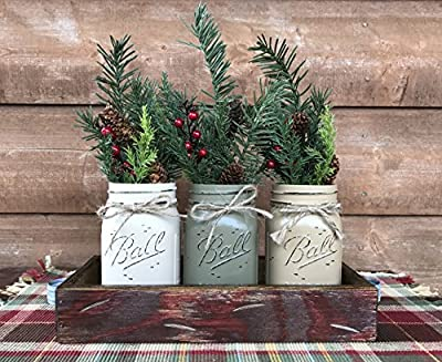 HOLIDAY Centerpiece Mason JARS in Wood Antique White or Red Tray with 3 Ball Pint Jar -Kitchen Table -Christmas Decor -Distressed Rustic -Florals (OPTIONAL) - Pine Berries Green Evergreens Flowers