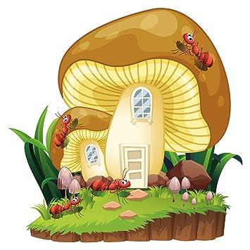 Pegatina de pared cuarto de los niños Casa de hongos con hormigas ...