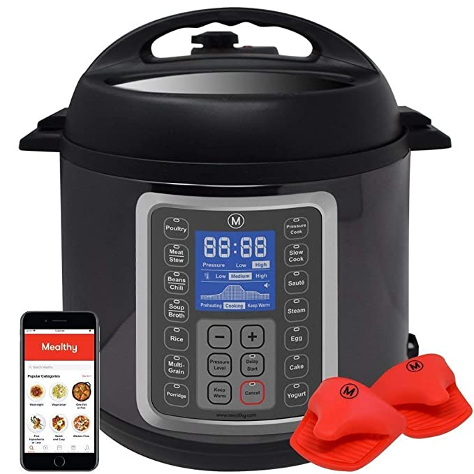 Mealthy MultiPot 9-in-1 Programmable Pressure Cooker 6 Quarts with Stainless Steel Pot, Steamer Basket, instant access to recipe app. Pressure cook, slow cook, sauté, rice cooker, yogurt, steam best pressure cooker