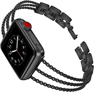 Biaoge Metal Band Compatible for Apple Watch Band Series 4 40mm 44mm/ iWatch Series 6 SE 5 3 2 1 38mm 42mm, Adjustable Stainless Steel Replacement Wristband Strap Cuff Bangle Bracelet (Black, 38mm)