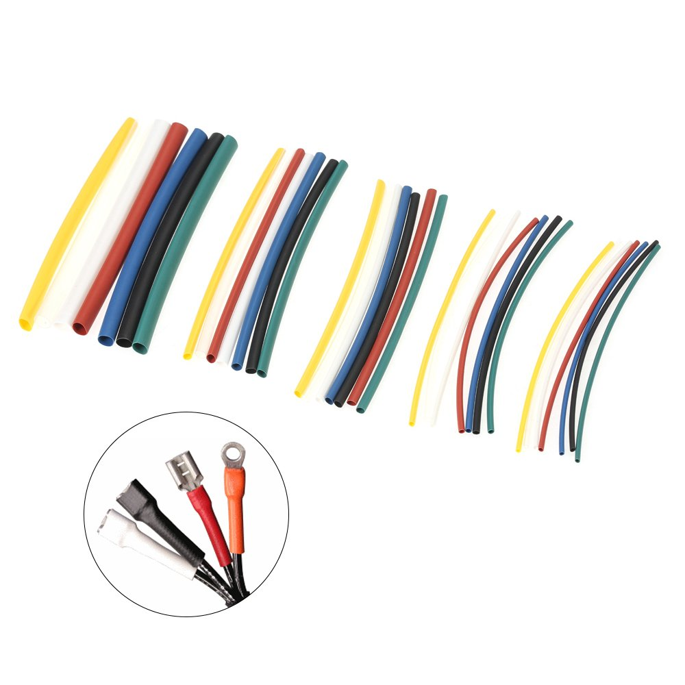 Festnight 7 Color 140PCS Polyolefin Halogen-Free 2:1 Heat Shrink Tubing Shrinkable Tube Sleeving Wrap Wire Cable Kit /φ1.0-/φ5.0mm