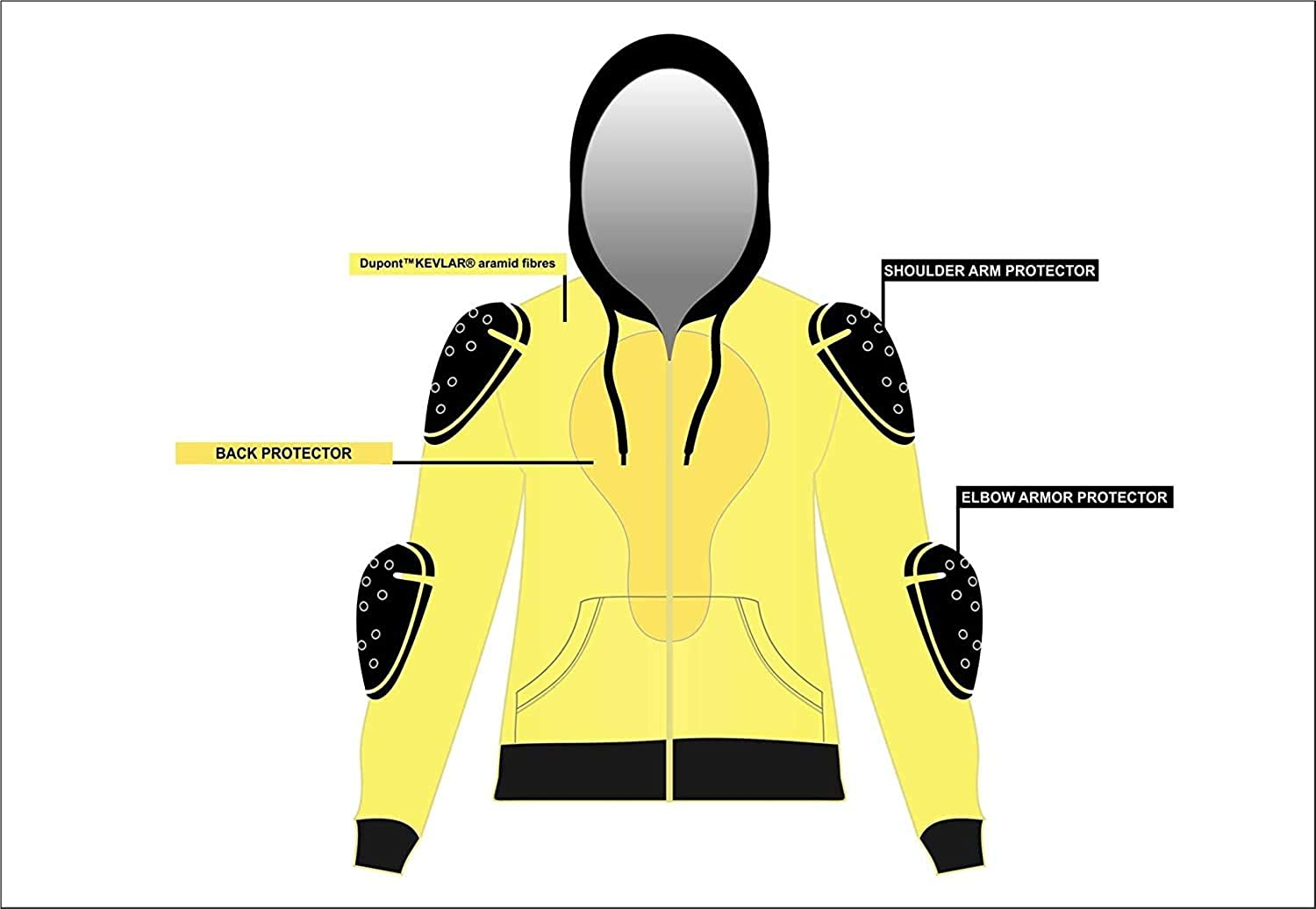 CrossFire Black Motorcycle Hoodie FULLY Reinforced With Protective Aramid Fibers Removable Armor by Busa