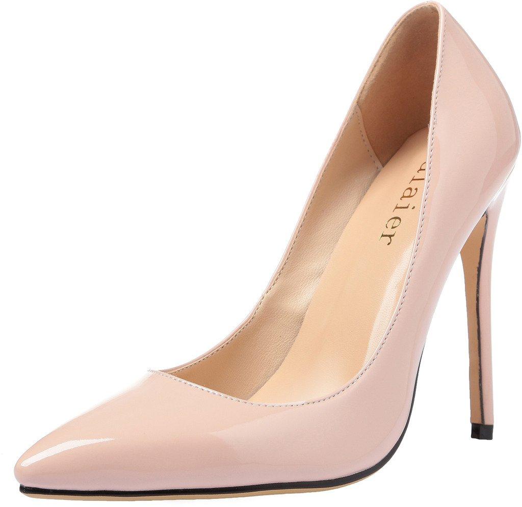 Calaier Mujer Caelse Tacón De Aguja 12CM Sintético Ponerse Zapatos de tacón 46 EU|Beige
