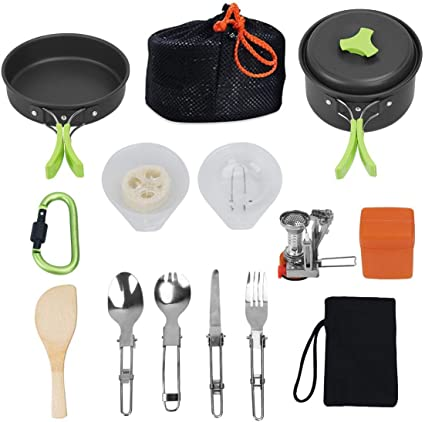 FYHCY 17Pcs Kit de Acampar Utensilios portátil de Cocina de 1 ...