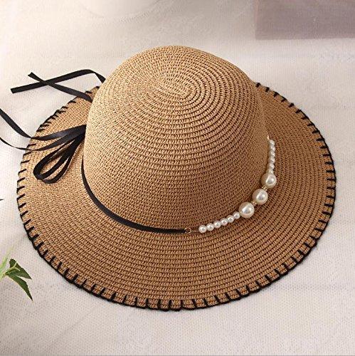 light blue unique seaside resort big eaves straw hat cap summer sun foldable large brimmed beach straw women girls tide