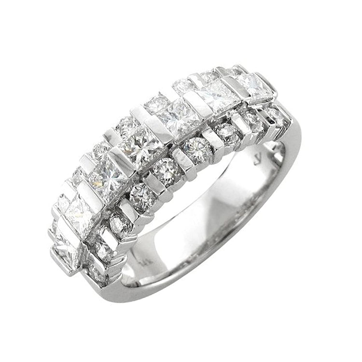 14k White Gold Round and Princess-Cut Diamond Ring Band, Size 7.25 (1 3/4 Carat)