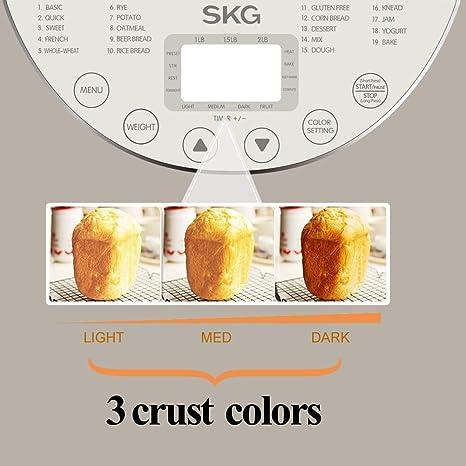 Amazon.com: SKG Máquina de pan automática 2LB – principiante ...