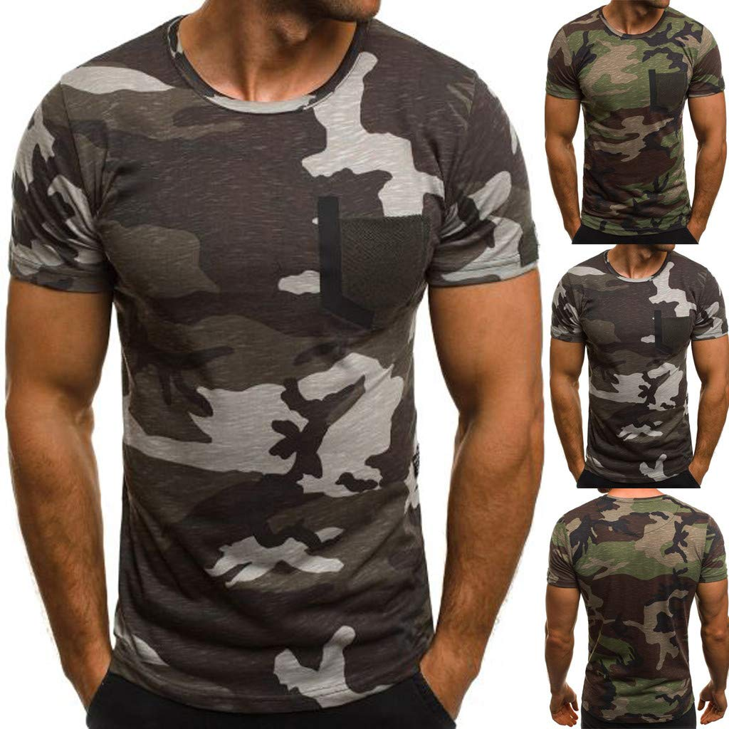 Luckylin Mens New Summer Casual Camouflage Printing Elastic Short Sleeve T-Shirt Tops