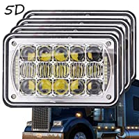 5D Lens 60W Newest 4x6 Inch LED Headlights with DRL for H4651 H4652 H4656 H4666 H6545 Freightliner Kenworth Peterbilt International Volvo Sterling Western Star Mack(Chrome 4Pcs)