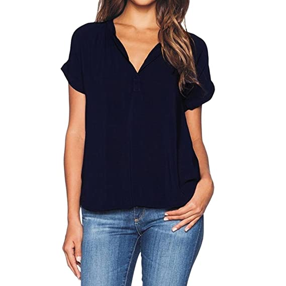 Lenfesh Ropa de Mujer, Blusa Camisetas de Manga Corta Para Mujer Camiseta Cuello EN V