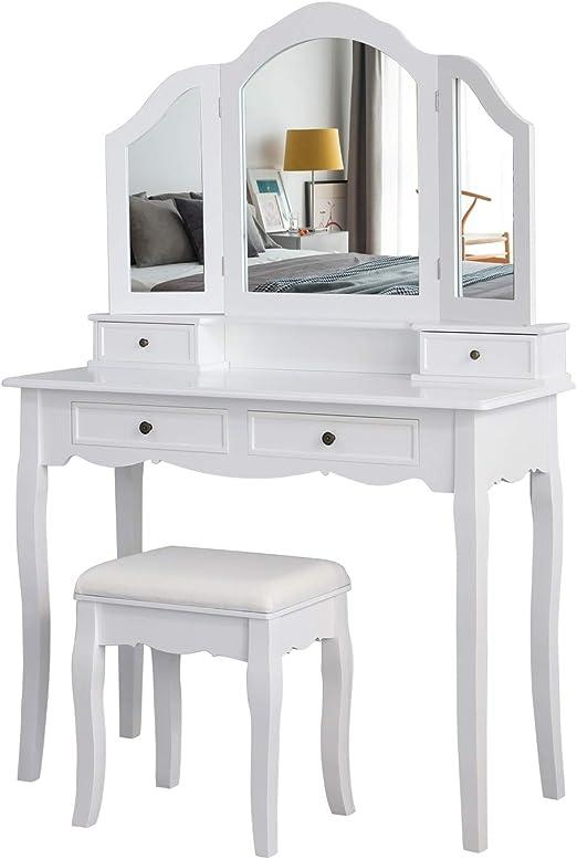 1 Tabouret et 3 Tiroirs Blanc 108 x 45 x 134 cm Table de Maquillage 3 Miroirs Pivotants et D/émontables HOMECHO Coiffeuse de Chambre