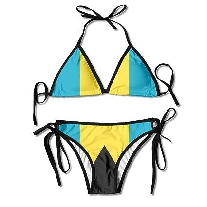 b577c586db Amazon.com  Fashion Women Bahamas Flag Printing Sexy Two-Piece ...