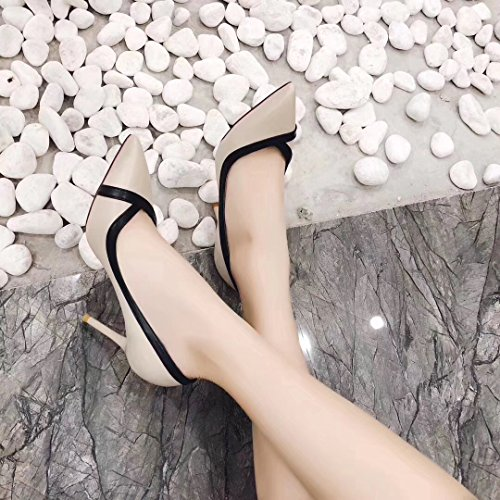 Lady Spring Shoes Leisure Mouth Heel Work Shoes Work Tip Shoe Shallow Women'S Single Heels Career Elegant Beige High MDRW Olici Fine 36 8Cm 5XwqOxFAW
