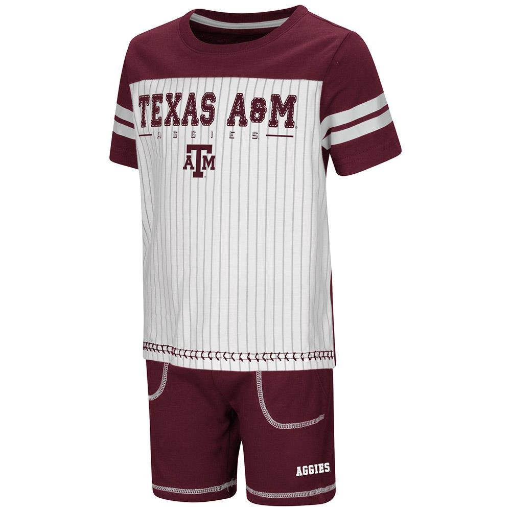 Colosseum Toddler Texas A/&M Aggies Pinstripe Tee Shirt and Shorts Set